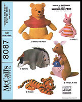 Disney Stuffed Animal Fabric Pattern Mccall's 8087 Toy Pooh Tigger Piglet Eeyore