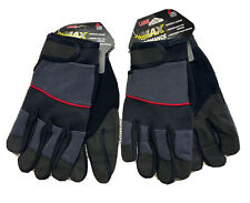Max Performance Synthetic Leather Lot Of 2 Size Lg Work Gloves Black