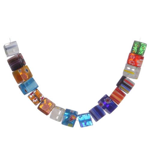 Colorisée verre fleur Millefiori Fleurs Beads Craft Jewelry Findings 6 8 mm