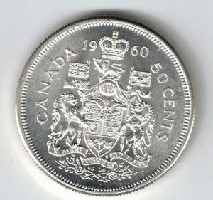 CANADA-1960-50-CENT-HALF-DOLLAR-QUEEN-ELIZABETH-CANADIAN-800-SILVER-COIN