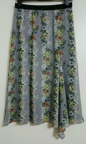 NEW M/&S 10-20 Butterfly Print Grey Chiffon Midi Skirt Floral Summer Holiday