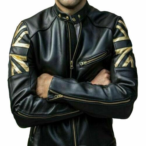 Biker Jackets For Men Union Jack Golden UK Flag Cafe Racer Leather Outerwear Top