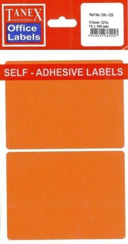 TANEX OFC-125 Vielzweck Etiketten farbig 10 Etiketten neon rot 74 x 100 mm