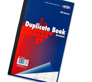 "Invoice Book Duplicate Receipt  Full Size 8.5/"" x 5/"" Paper Business Keeping Book"
