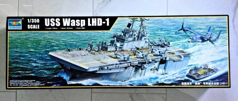 TRUMPETER 1 350 U.S. AIRCRAFT CARRIER USS WASP LHD-1 PLASTIC MODEL KIT 05611 F S