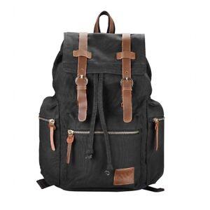 4c9d20ea3fe3 Image is loading Vintage-Style-Canvas-Backpack -Rucksack-Schoolbag-Travel-Hiking-