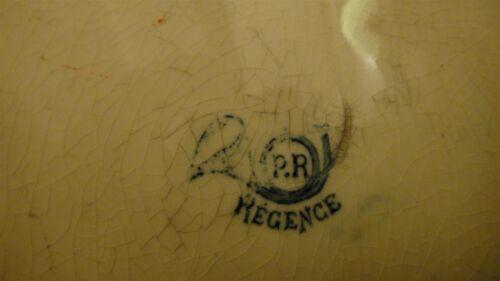 RARE ANTIQUE TRANSFERWARE PLATE P.R REGENCE CHINOISERIE FAIENCE CERAMIC FRENCH