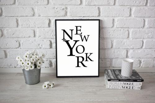 New York City Stylish Design Poster Print Artwork Positive A3 A4 Present Idea