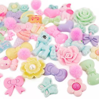 Colourful Pastels Cabochon & Pink Fuzzy Ball Set Kit DIY Decoden Kawaii Craft