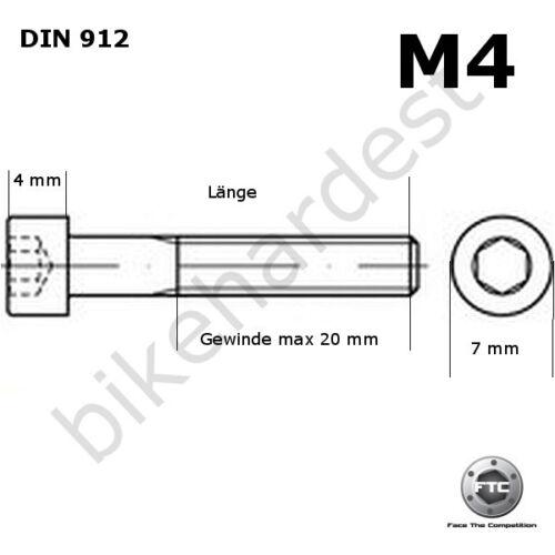 Titan vis m4 x 15-35 Conique DIN 912 grade 5 Gold
