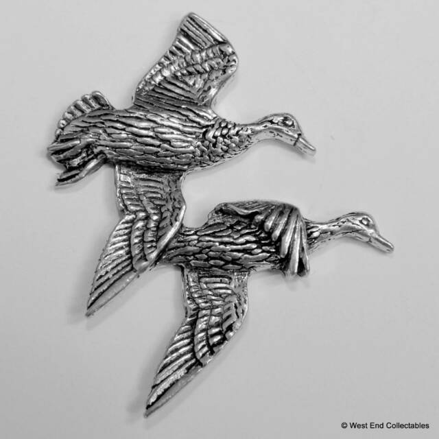 British Hand Crafted Mallard Waterfowl Hunt Brace of Duck Pewter Pin Brooch