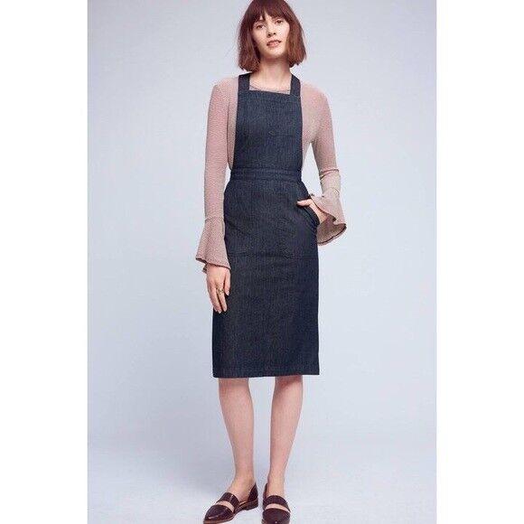 Anthropologie Seen Worn Kept Denim Pinafore Dress 4 NWOT SOLD OUT
