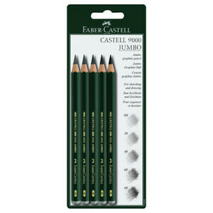 FABER-CASTELL-USA-119397-CASTELL-9000-SERIES-GRAPHITE-PENCIL-JUMBO-5CT-SET-CA