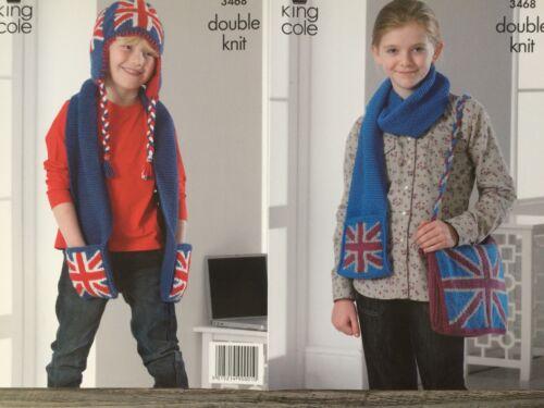 3468 DK Chapeau /& Sac King Cole tricot Motif: Enfant Union Jack écharpes