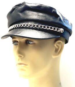 d2826448bf3fb YMCA Chain Captains Cap Hat Leather Look Gay Pride Biker freddie ...
