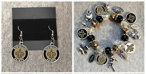 Image Is Loading Nfl New Orleans Saints Earring And Beaded Bracelet