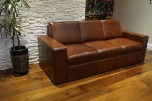 Echtleder 3 Sitzer 200cm Rindsleder Sofa Couch Bettfunktion Echt