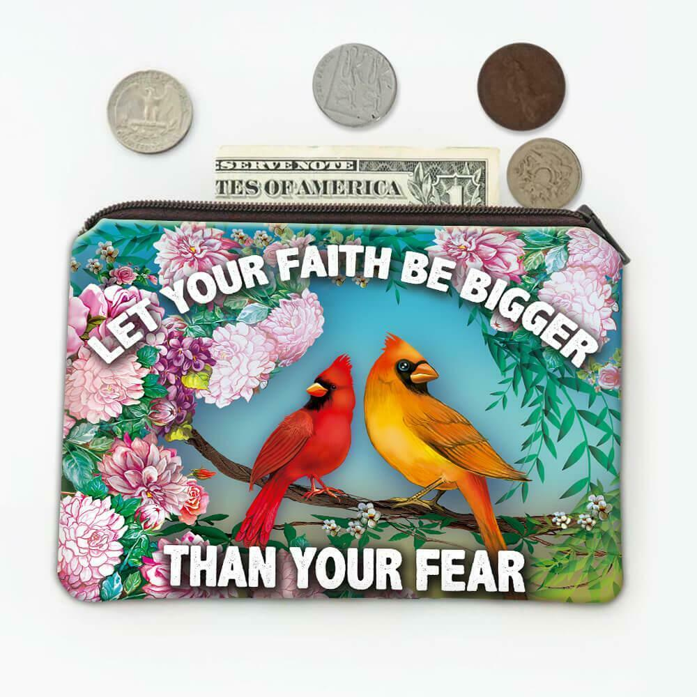 Gift Coin Purse : Cardinal Flowers Bird Grieving Lost Loved One Grief Healing