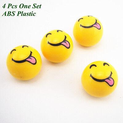 4 Pcs Yellow Smiley Face & Tongue Tyre Tire Valve Air Dust Caps Covers For Lexus