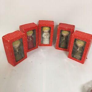 Christmas-Angels-Vintage-Figurines-Candleholders-Original-Boxes-Japan-Set-of-5