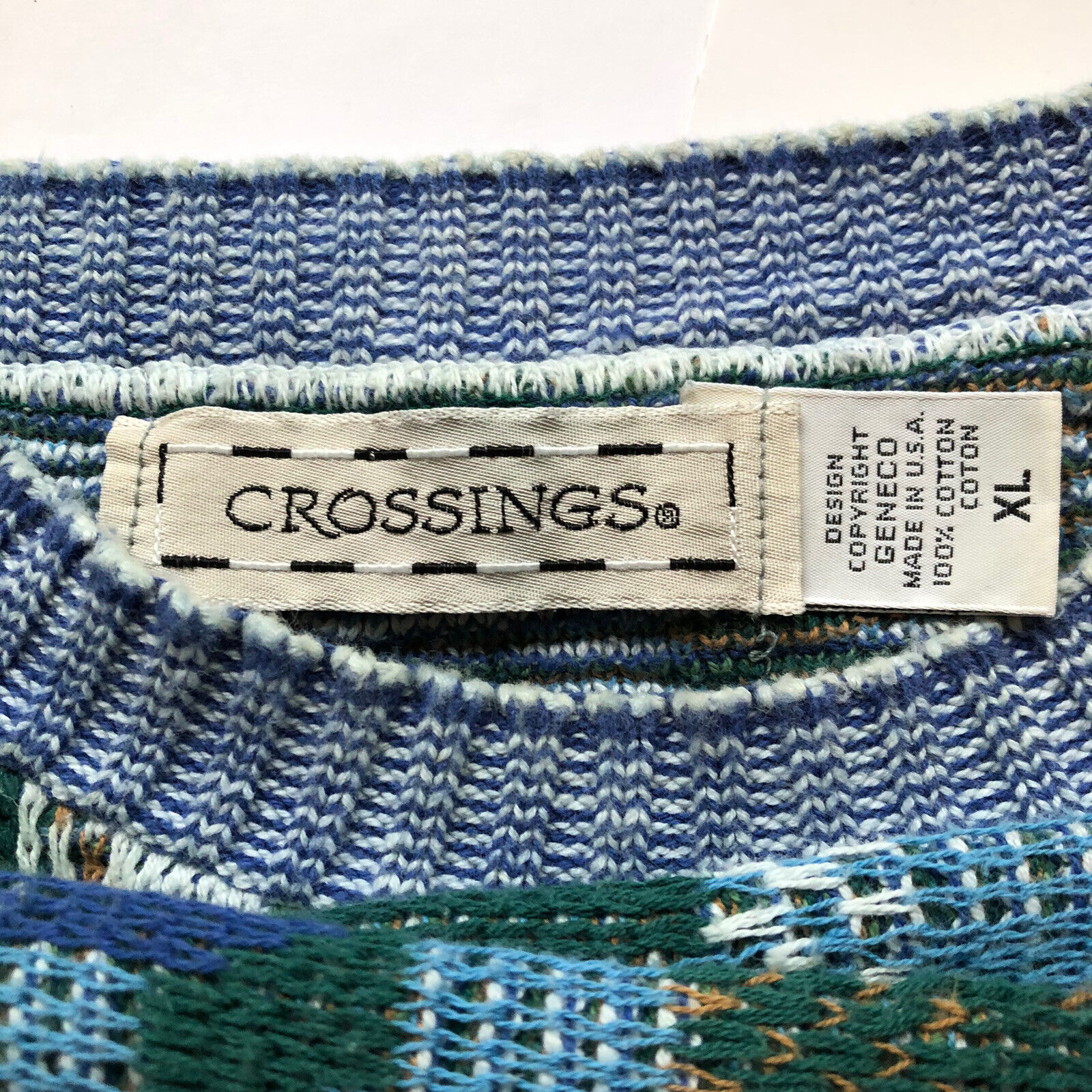 80s Crossings Fine Line geometric pattern knit cotton Navy /& White crew neck pullover Sweater tag XL made in USA  baggy retro vtg vintage
