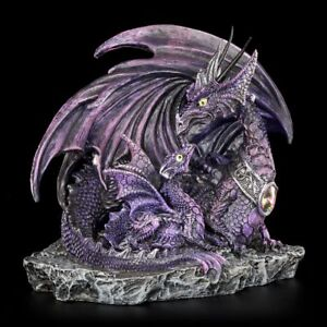 Dragon-Figurine-Mutter-mere-AVEC-DRAGON-ENFANT-Violet-fantasy-decoration