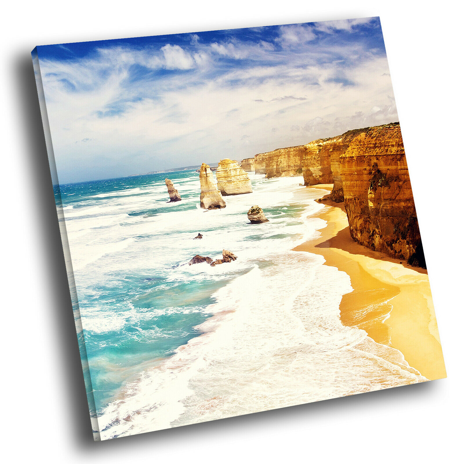 Summer Cliffs Beach Cool Square Scenic Canvas Wall Art Large Picture Print