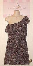 VANITY ~ Colorful Paisley Flowy One Shoulder Lined Dress Sz L * VERY GOOD +++
