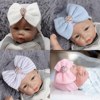 USA Baby Girls Infant Striped Cap Hospital Newborn Soft Bow Beanie Hat Hot