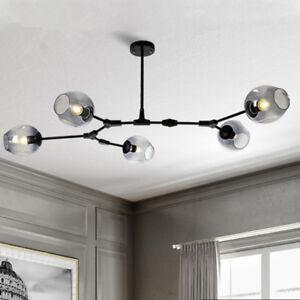 the latest 007bc 490c4 Details about Black Chandelier Lighting Glass Pendant Light Kitchen Flush  Mount Ceiling Lights