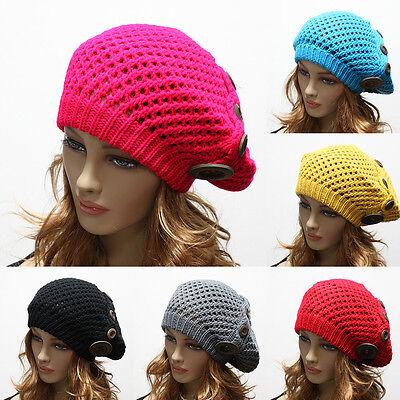 Women's Winter Knit Baggy Beanie Cap Oversize Hat Crochet Trapper Ski Buttons