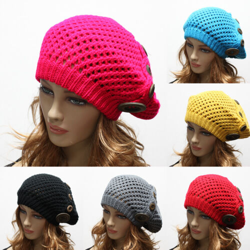 Women/'s Winter Knit Baggy Beanie Cap Oversize Hat Crochet Trapper Ski Buttons