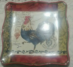 Certified-International-ROOSTER-Square-Dinner-Plate-Pamela-Gladding-replacement