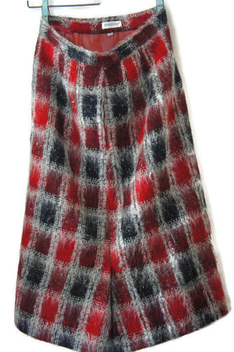 Vintage Mohair Red Plaid Tartan Pencil Secretary Skirt  Holt Renfrew