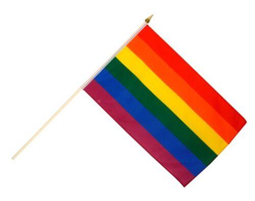 Regenbogen Stockflagge Flaggen Fahnen Stockfahne 30x45cm