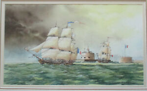 Nice-John-Ford-Maritime-Painting-watercolor-50cm-x-28cm-nautical-Ships-Seascape