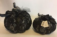 "Katherine's Collection Set Of 2 Midnight Magic 7"" & 9"" Lace Pumpkins Display NEW"