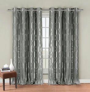 Two Silver Gray Faux Silk Grommet Window Curtain Panels: Metallic Print, 76quot;x84quot;