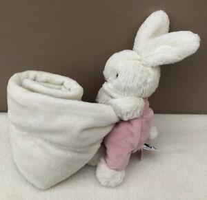 Jellycat-Pink-Velvet-Bunny-Rabbit-Comforter-Blanket-Soother-Baby-Soft-Toy-BNWOT