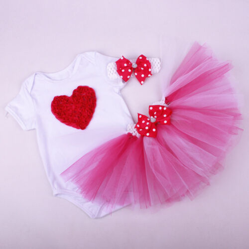 Baby Girls 1st First Birthday Newborn Outfits 3pcs Sets Bodysuit skirt Headband