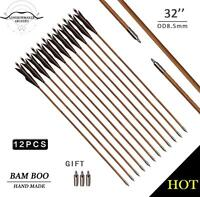 28-33 Archery Hunting Elven Black Turkey Bamboo Arrow Target Practice Field Tip