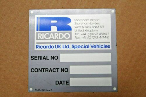 Ricardo UK Special Vehicle Blank Seat Box Data Plate Land Rover WMIK Military