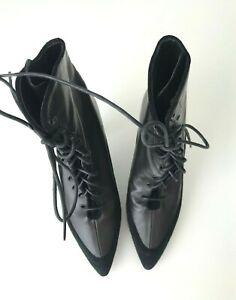 Proenza-Schouler-Black-Lace-up-4-Heels-Boots-Booties-IT-39-5-US-9-5