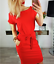 Women-Solid-Pockets-Slim-Pencil-Dress-Bodycon-Casual-Short-Sleeve-Party-Cocktail thumbnail 3