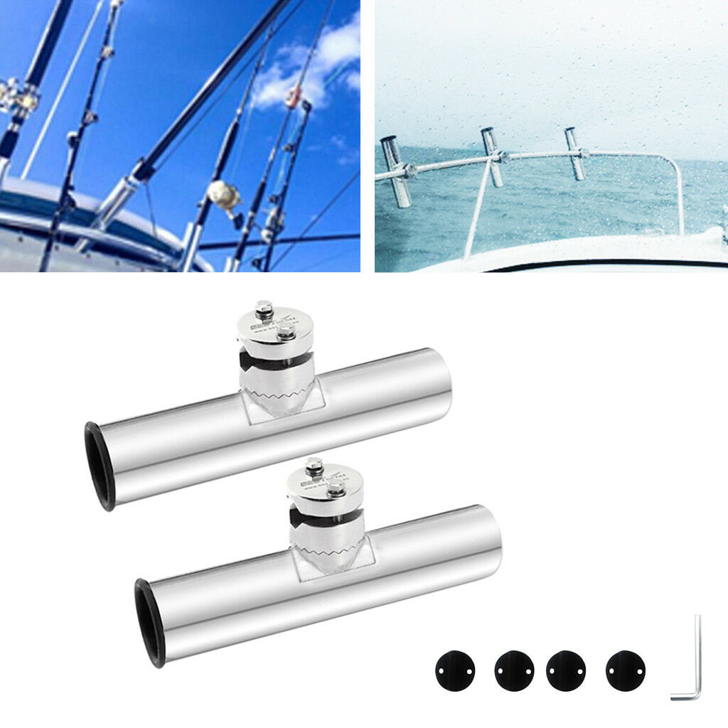 2 Stainless Steel Boat Sea Clamp On Fishing Rod Holder for Rails 3 4  to 1