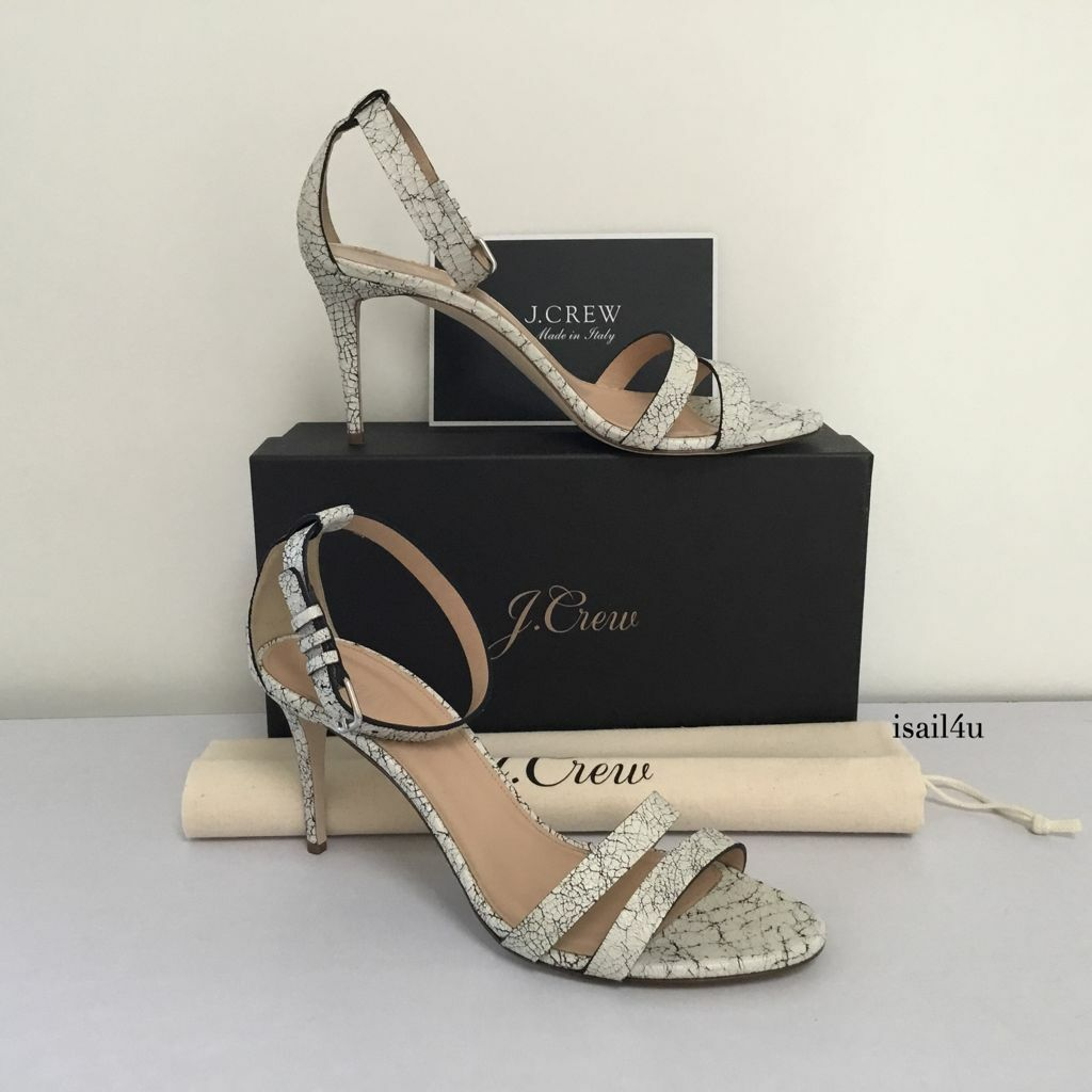 J.Crew Crackled Leather Ankle-Strap High-Heel Sandals NIB Size  9 Made In