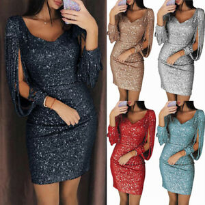 New-Women-V-neck-Bodycon-Dresses-Slim-Glitter-Tassel-Elegant-Ladies-Party-Dress
