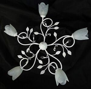 Plafoniera bianca vetro e cristallo SHABBY CHIC fiammingo ...