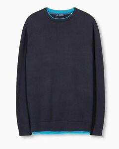 ESPRIT-Herren-Pullover-mit-Lageneffekt-Baumwolle-navy-blau-NEU