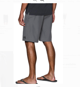 New Under Armour RIGID solid gray board shorts swim trunks 30 32 34 36 38 40